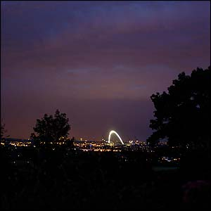 The glowing arch can be seen from across London