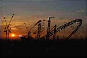 The sun rises over Wembley's construction site