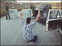 Israeli troops aim at Palestinian driver at a West Bank road block