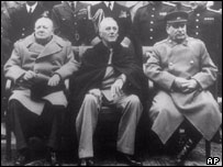 Churchill, Roosevelt and Stalin at the Yalta conference in 1945