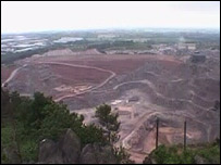 Bardon Hill quarry as seen from the hill's summit
