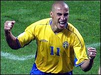 Sweden striker Henrik Larsson