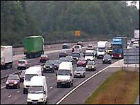 M25 between junctions five and six