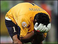 Gianluigi Buffon is devastated after learning Italy have been knocked out of Euro 2004