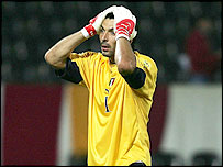 Italy goalkeeper Gianluigi Buffon is distraught at his side's elimination from Euro 2004