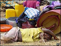 Congolese refugee rests