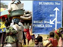 Congolese refugees fleeing to Burundi
