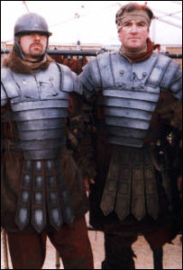 Paul Burns and Tony Tomlinson on the set of Gladiator