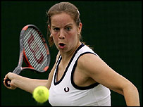 Britain's Katie O'Brien in action at Wimbledon