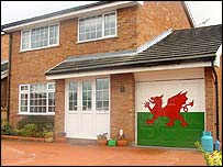 House with flag on garage