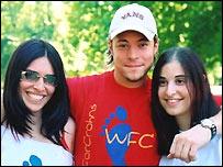 Lisa Meleck (l) Duncan James and Natasha Adley