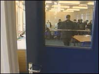classroom seen through doorway