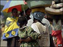 Personas desplazadas de la parte oriental de la RD Congo.