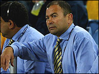 Eddie Jones looks on during last year's World Cup final