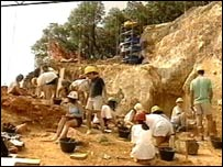 Researchers at work in Atapuerca