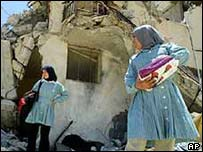 Girls in the ruins of Jenin