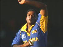 Dilhara Fernando in action for Sri Lanka