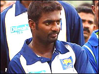 Muttiah Muralitharan looks on during a net session