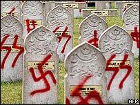 Defaced gravestones, Hagenau, Alsace