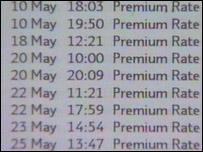 Scam premium rate calls