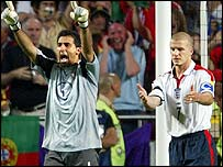 Portugal goalkeeper Ricardo celebrates after England captain David Beckham's miss
