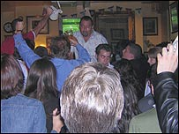 England fans celebrate a goal at the Duke of Wellington