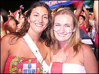 Portuguese fan Andreia Fenneina and her English friend Samantha Alves