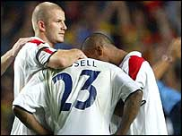 David Beckham and Ashley Cole console Darius Vassell