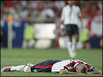 An anguished David Beckham after the defeat to Portugal