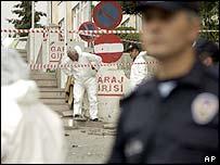 Police at Ankara Hilton blast site