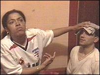 Injured Portuguese fans