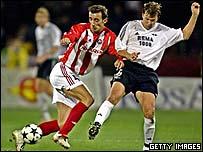 Dragan Mladenovic (left) in action for Red Star Belgrade