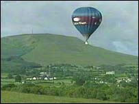 Balloon above the Sperrin mountains