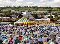 The Pyramid Stage amid a sea of tents