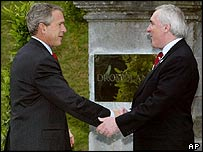 President Bush (left) is greeted at Dromoland Castle by Irish PM Bertie Ahern )right)