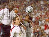 Sol Campbell's header was disallowed by Urs Meier