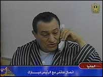 Egyptian President Hosni Mubarak in hospital broadcast before the surgery