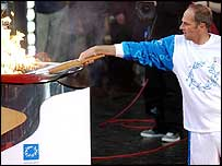Sir Steve Redgrave lights the Olympic cauldron