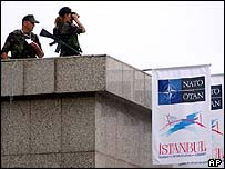 Special forces keep watch from an Istanbul rooftop ahead of the Nato summit