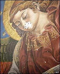Vista parcial del fresco descubierto en la Catedral de Valencia.