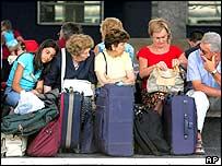 Passengers waiting at the Garibaldi station in Naples