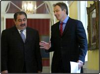 Iraqi foreign minister Hoshyar Zebari and Tony Blair