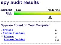 Screen grab of spyware audit results, BBC