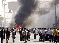 Baghdad street after ambush on foreigners' convoy