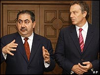 Iraqi foreign minister Hoshyar Zebari and Tony Blair