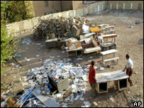 An Iraqi school ransacked by looters