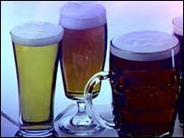 Image of full beer glasses