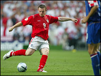 England's Wayne Rooney scores a goal during Euro 2004