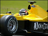 Nigel Mansell tries out a Jordan at Silverstone on Monday