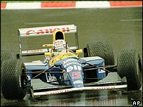 Nigel Mansell in his Williams-Renault FW14B at the 1992 Belgian Grand Prix